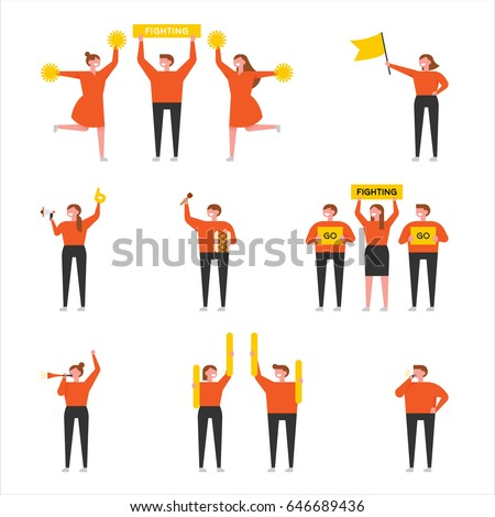 orange cheering people simple character vector illustration flat design