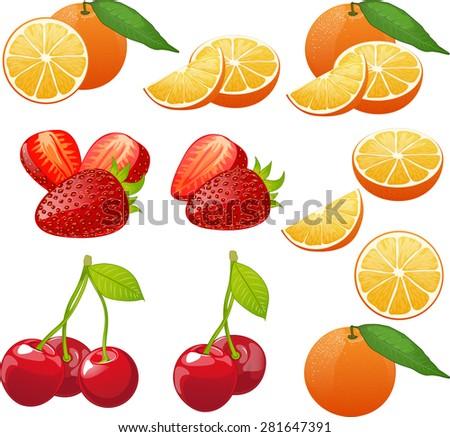 orange cherry strawberry whole