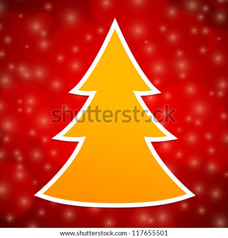 Orange Christmas tree with white outline on red abstract background