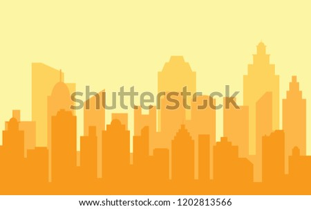 Orange cityscape background. Vector cityscape. Flat design city. Abstract city buildings skyline. Sunset city background. Urban landscape.