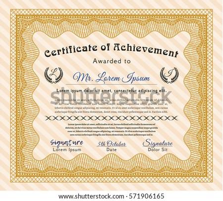 modern orange certificate of achievement template design Download