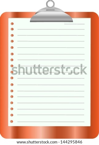 Orange clipboard with white paper on white