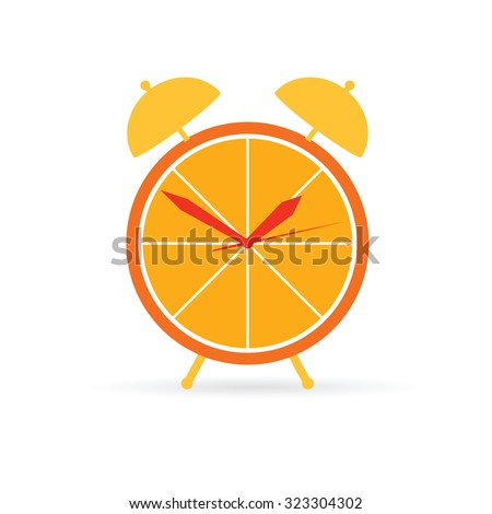 orange clock vector in colorful