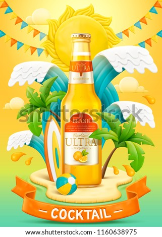 Orange cocktail ads with light clay and plasticine style beach background in 3d illustration, waves and small island