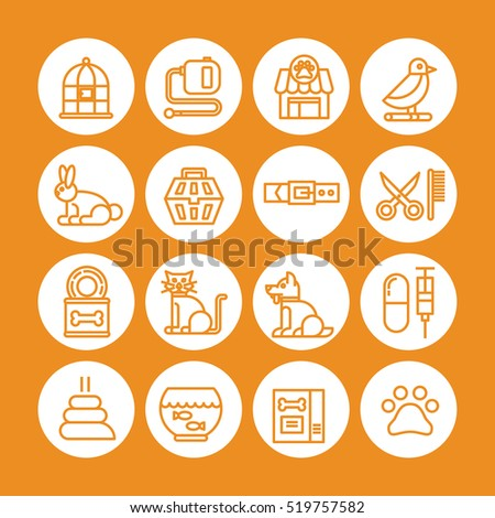 orange color set of vector icon