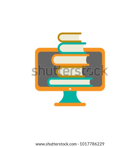 orange computer monitor with stack of colorful books. Isolated on white background. Flat vector simple icon. Internet knowledge symbol. Good for web and mobile design.  on-line education sign.