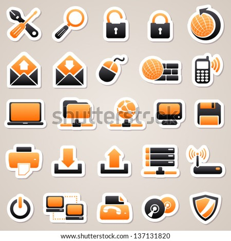Orange computer stickers
