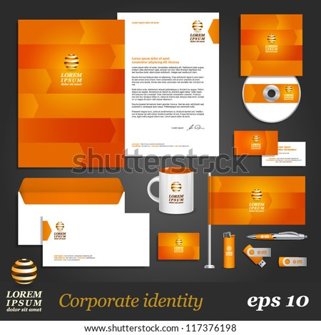 Orange corporate identity template with arrows. Vector company style for brandbook and guideline. EPS 10