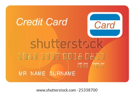 Orange credit card, vector