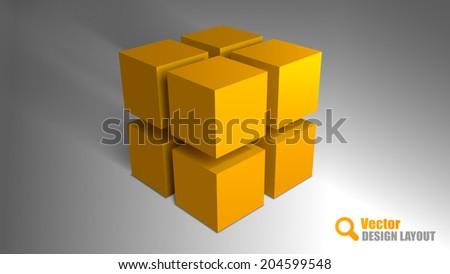 orange cubes on the gray