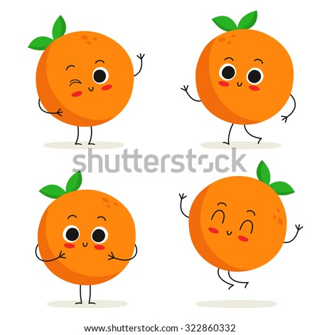 orange cute fruit vector