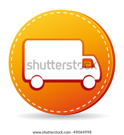 Orange delivery icon. Vector illustration. - stock vector