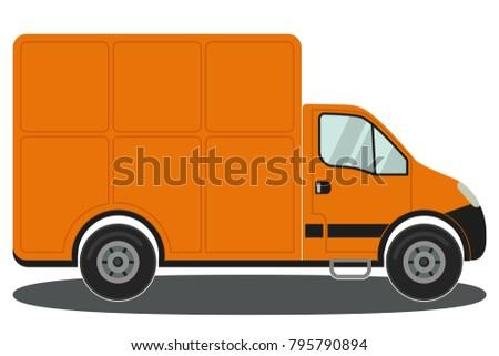 Orange Moving Van Illustration Download Free Vector Art