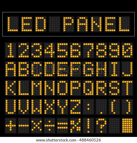 orange digital square led font...
