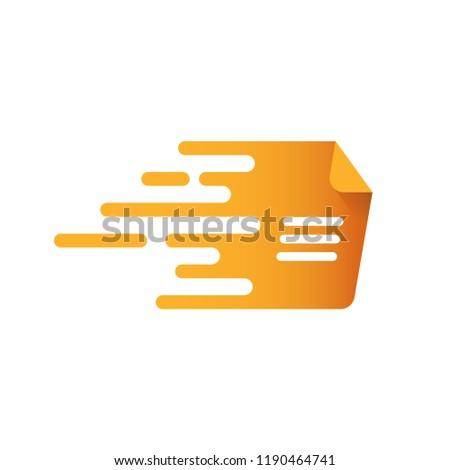 Orange document speed logo icon design. Fast doc symbol. Vector illustration.