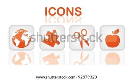 orange elements icons over buttons web vector illustration