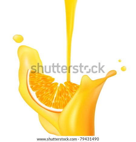 Orange falling into splash of juice. Vector illustration.