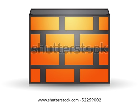 Orange firewall icon isolated concept