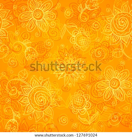 orange floral bright vector