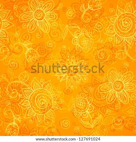 orange floral bright vector