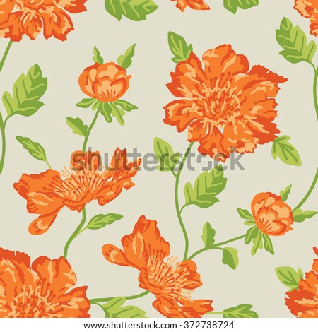 orange flowers with green