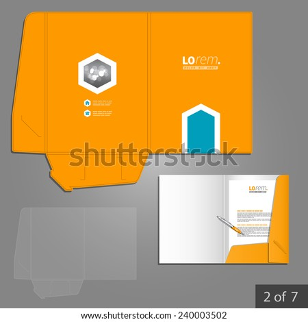 Orange folder template design for company with blue arrow. Element of stationery.