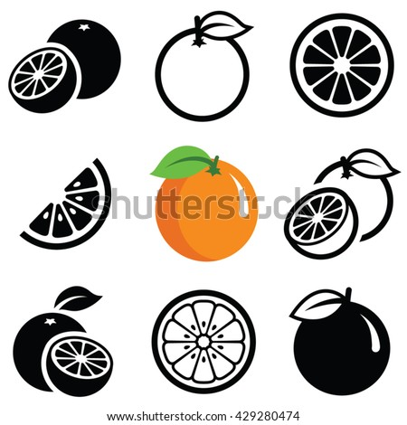 Orange fruit icon collection - vector outline and silhouette