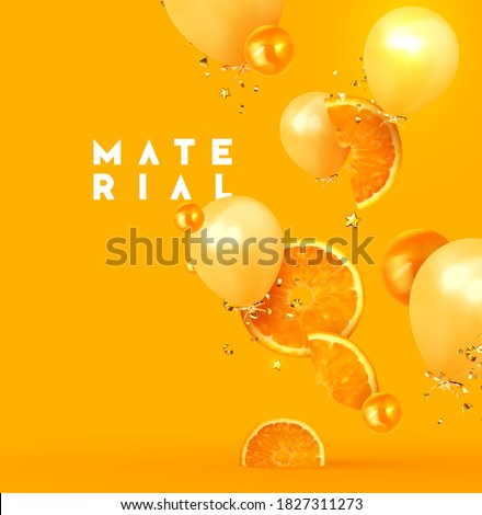 Orange fruit realistic design slices and halves. Background with citrus fruits and beige balloon, gold glitter confetti. Vector illustration