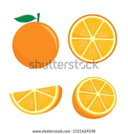 Orange fruit vector illustration isolated on white background. Orange fruit clip art