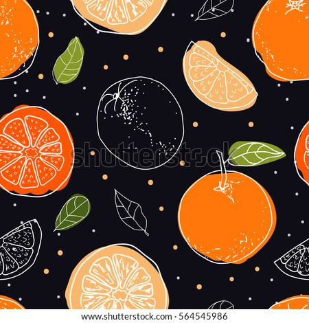 Orange fruits seamless pattern on black background