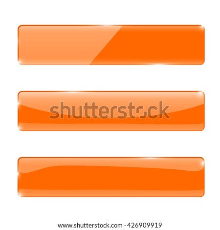 Orange glass buttons. Rectangular buttons. Vector illustration isolated on white background