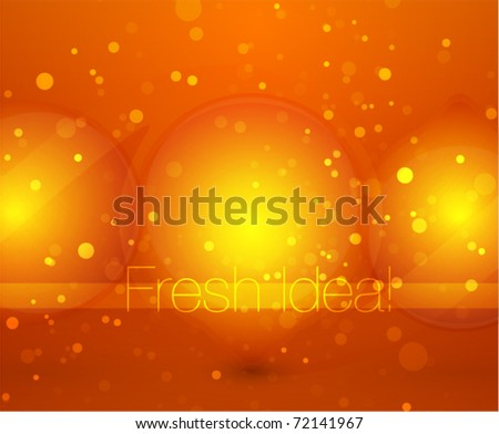 Orange glass light bulbs. Abstract shine background - stock vector