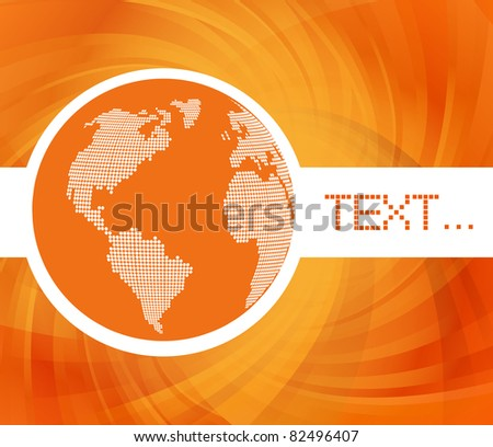 Orange globe concept vector background with map - stock vector