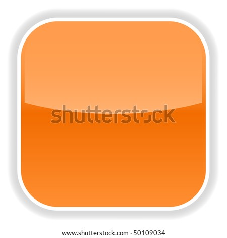 Orange glassy blank web 2.0 internet button with gray reflection on a white background