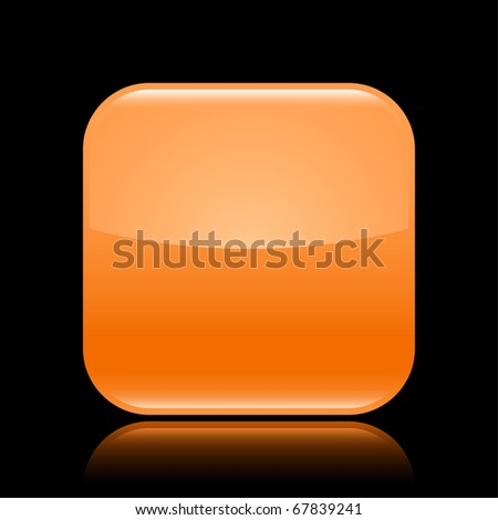 Orange glossy blank web 2.0 button with colored reflection on black background