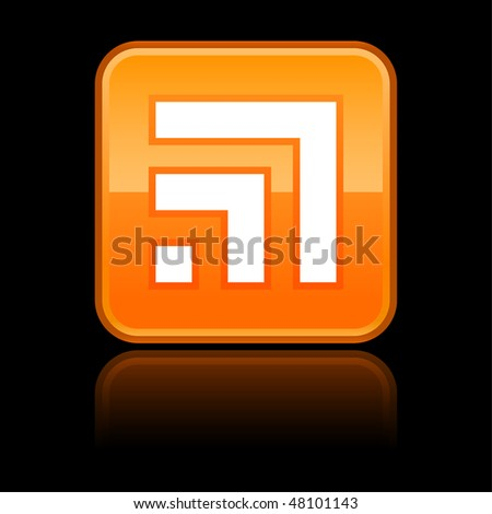 Orange button with RSS symbol and reflection on black