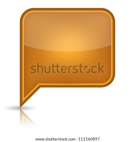 Orange glossy empty speech bubble web button icon. Rounded rectangle shape with black shadow and reflection on white background.