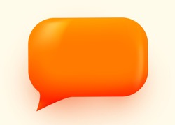 Orange glossy speech bubble illustration. Social network communication concept. Vector illustration