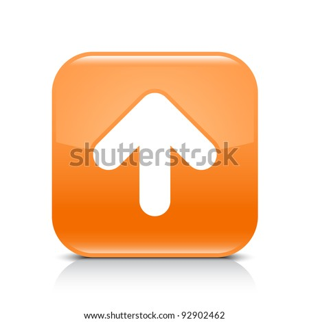 Orange glossy web button with arrow upload sign. Rounded square shape icon with shadow and reflection on white background. This vector illustration created and saved in 8 eps