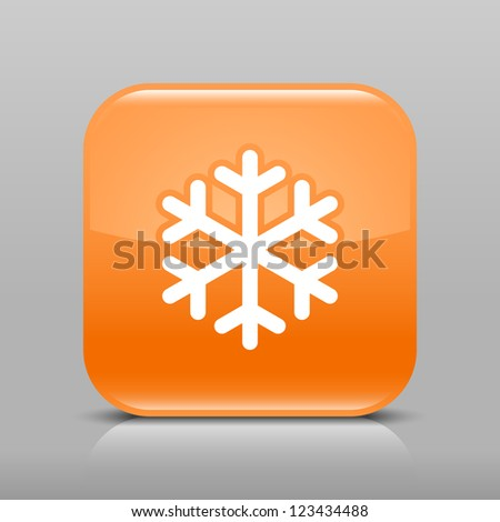 Orange glossy web button with low temperature sign snowflake symbol. Rounded square shape icon with shadow and reflection on light gray background. This vector illustration web design element in 8 eps