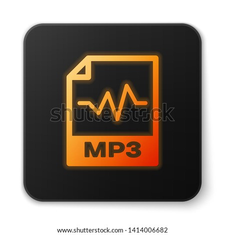 Orange glowing MP3 file document icon. Download mp3 button icon isolated on white background. Mp3 music format sign. MP3 file symbol. Black square button. Vector Illustration