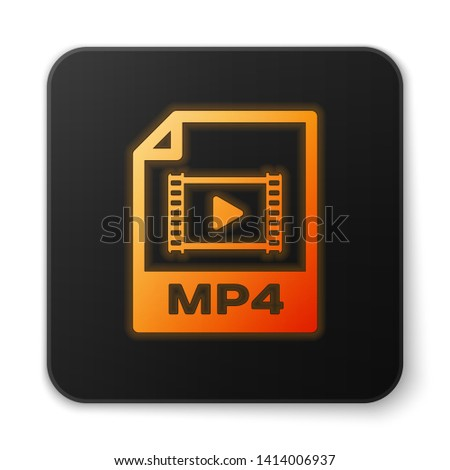 Orange glowing MP4 file document icon. Download mp4 button icon isolated on white background. MP4 file symbol. Black square button. Vector Illustration
