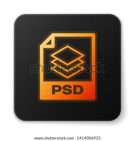 Orange glowing PSD file document icon. Download psd button icon isolated on white background. PSD file symbol. Black square button. Vector Illustration