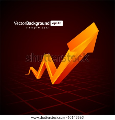 Orange graph  arrow move up vector background