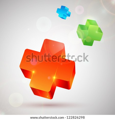 Orange, green and blue plus symbols. Abstract colorful background