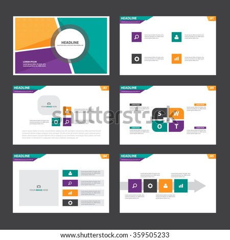 Orange green purple presentation template Infographic elements flat design set for brochure flyer leaflet marketing advertising