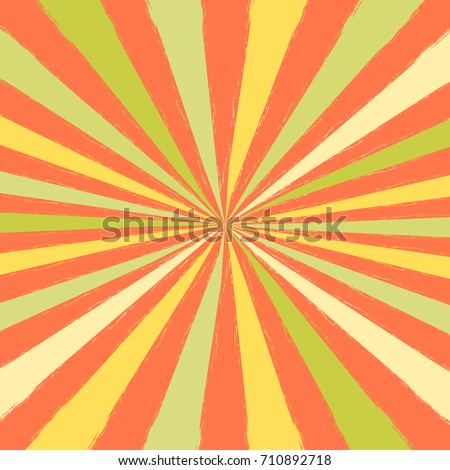 orange green ray burst style