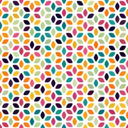 Orange green red yellow pink goldenrod mustard spot seamless pattern on white. Round diamond flower background. Abstract floral geometric texture for prints, textile, fabric, package, wrapping, cover