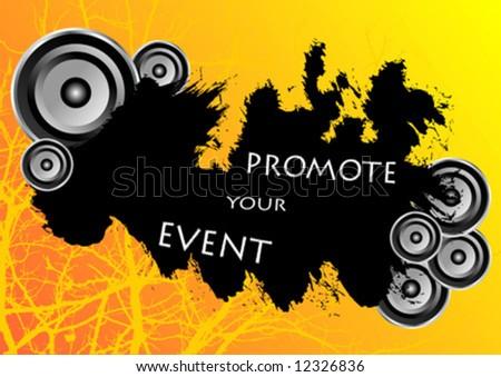 Orange grunge party banner with speakers around