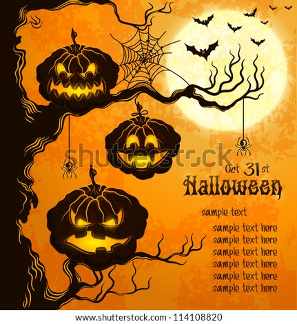 Orange grungy halloween background with scary pumpkins on a tree branch, full moon, and bats.  Vector Illustration.